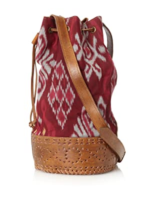 Cleobella Women's Amballa Ikat North/South Drawstring Tote, Sangria