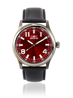 Invicta Men's 11433 Specialty Red Dial Black Leather Watch