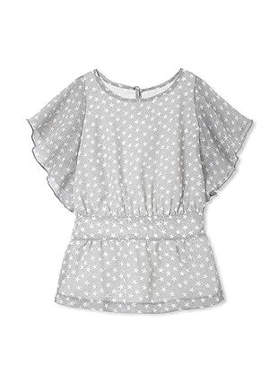 TroiZenfants Girl's Chiffon Flutter Sleeve Top (Grey Stars)