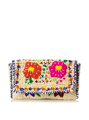 Cleobella Women's Bali Woven Straw Mediterranean Clutch, Natural/Multi