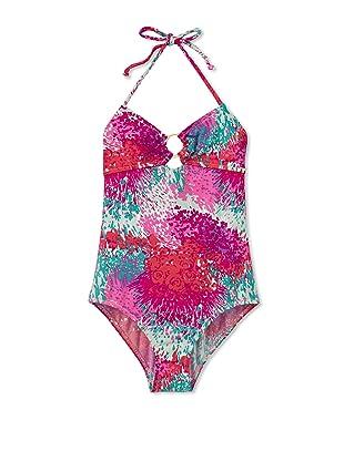 Eberjey Mini Girl's Sasha Paint Splash Swimsuit (Magenta)