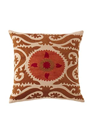 Abigails Square Suzani Pillow, Caramel/Orange