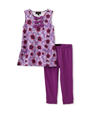 Nicole Miller Girl's Triple Bow Tunic with Leggings (Purple)