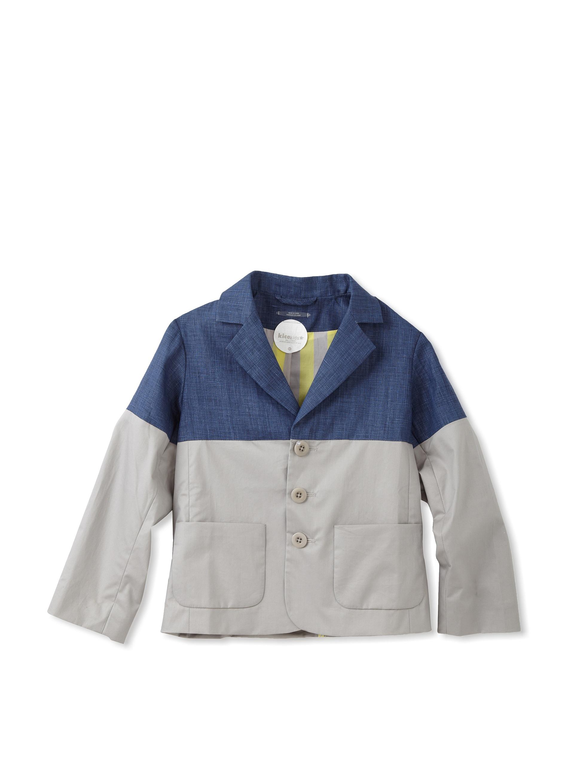 kicokids Boy's Patchwork Classic Blazer (Indigo/ grey)