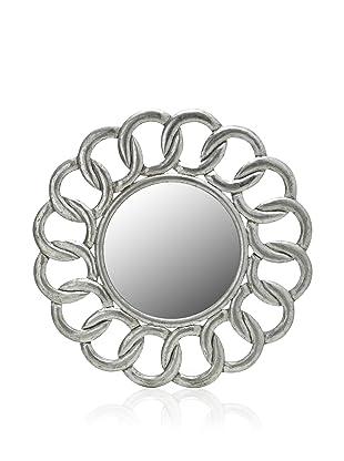 Diamond Reef Interlocking Design Carved Wooden Wall Mirror (Antique Silver)