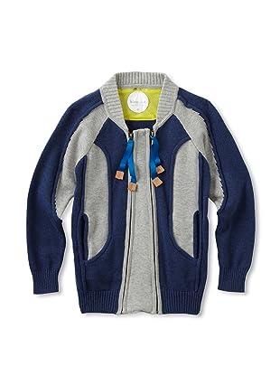 kicokids Boy's Track and Field Patchwork Zip Cardigan (Indigo/ grey)