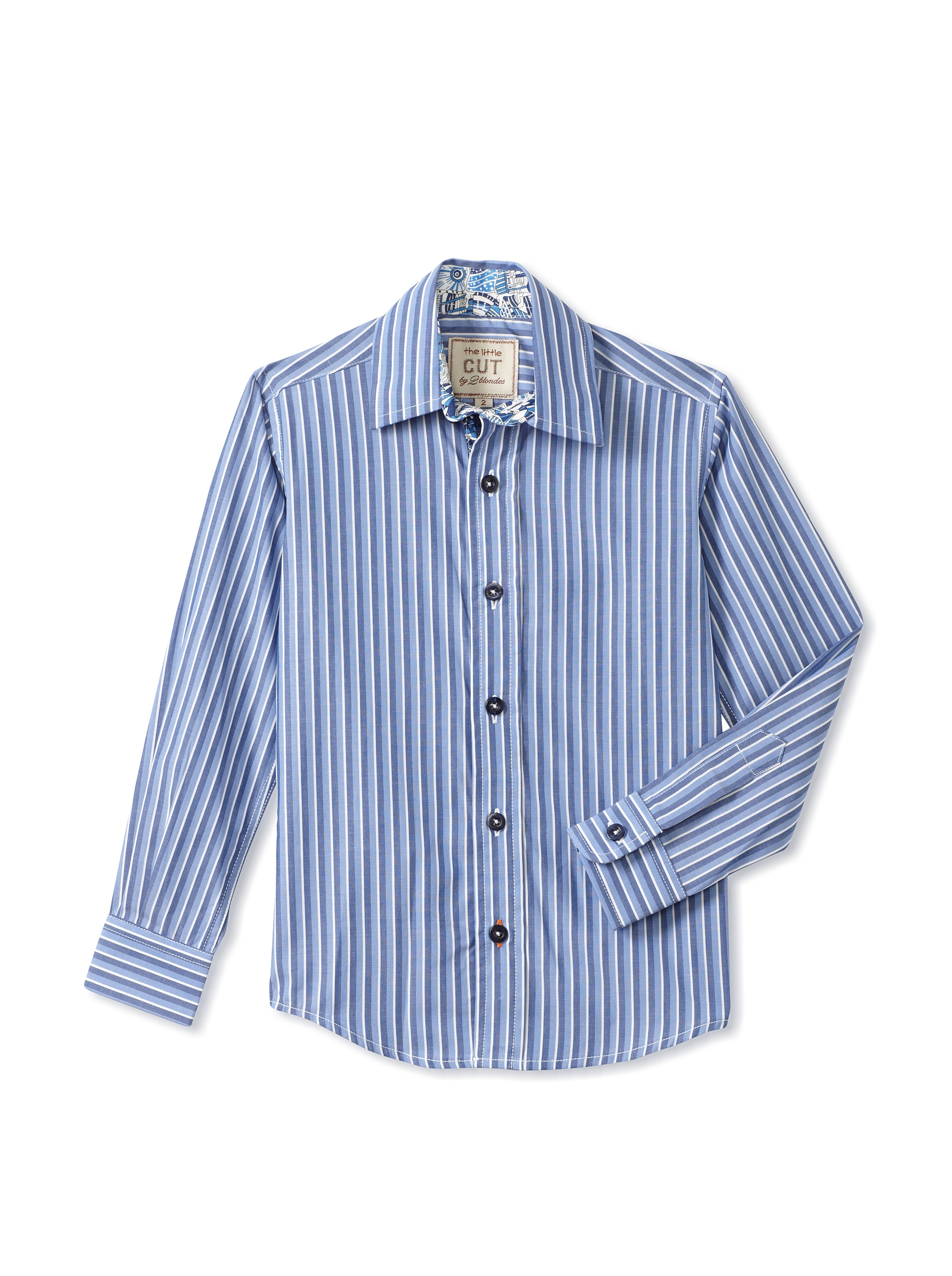 CUT By 2 Blondes Boys Hook Me Up Long-Sleeve Button-Up (Navy Stripe)