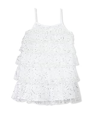 TroiZenfants Girl's Sleeveless Tiered Dress (White Sequins)