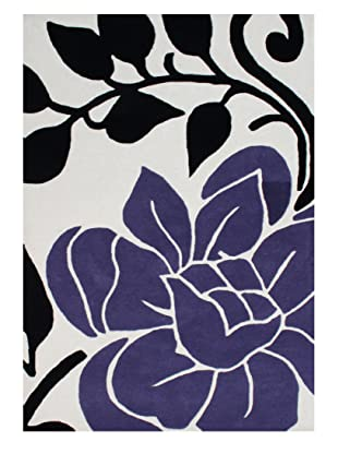 Horizon Alliyah Collection Bold Floral Rug (Black/Purple/Vanilla)