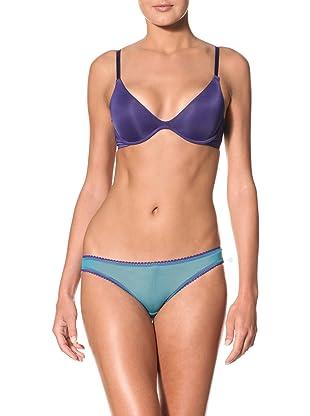 OnGossamer Women's Sleek and Lace Scoop Neck Push-Up Bra (Deep Cobalt)