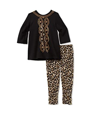 Nicole Miller Girl's Tunic with Leopard Leggings (Black)