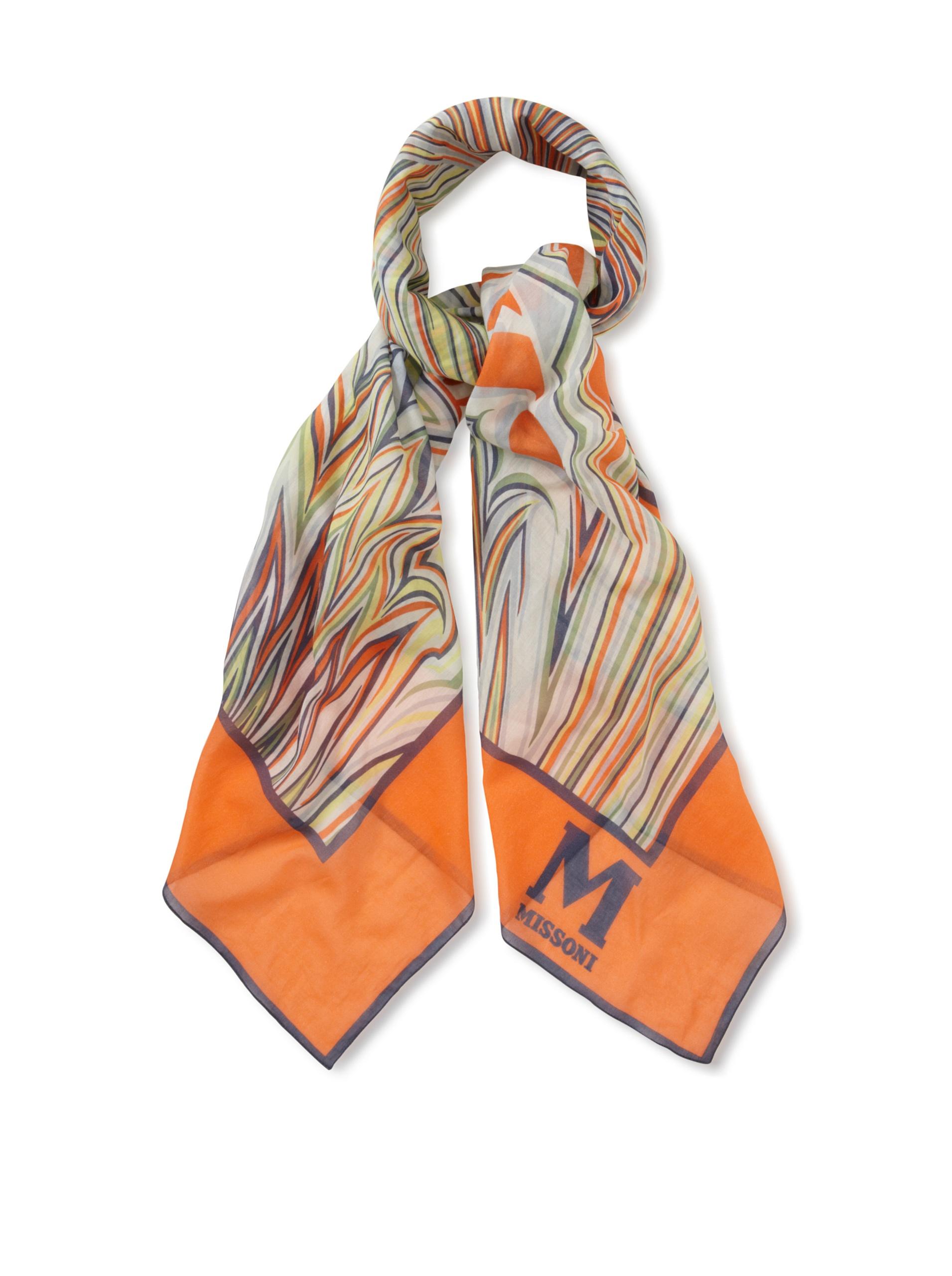 M Missoni Women's Printed Cotton Scarf, Multicolored Orange, One Size