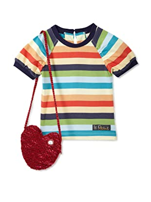 Le Petit Pumm Girl's Short Sleeve Tee with Purse (Striped)