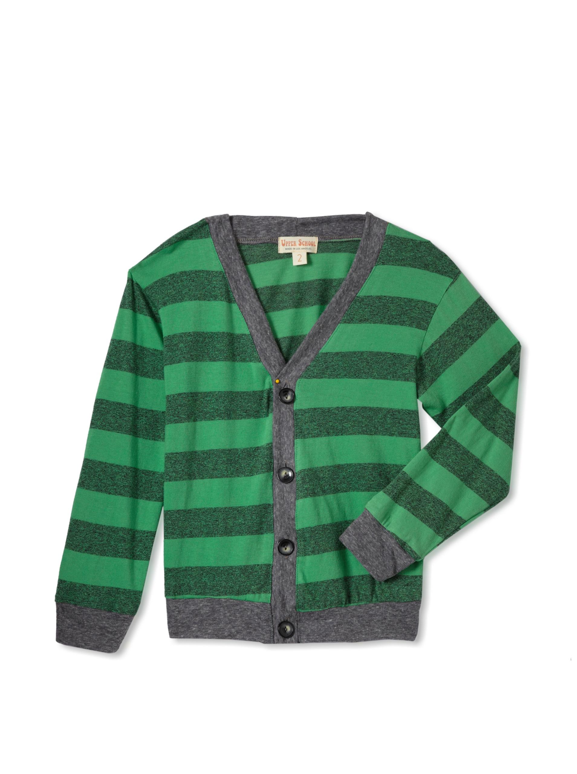 Upper School Boy's Grey Stripe Cardigan (Green)