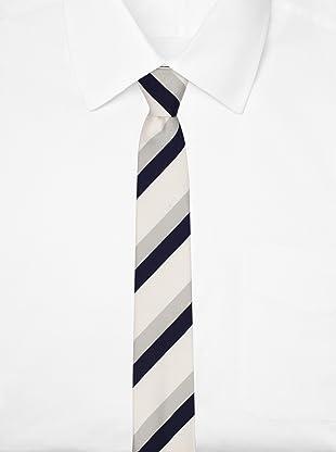 Thom Browne Men's Classic Canopy Stripe Tie (Navy/Light Grey/White)