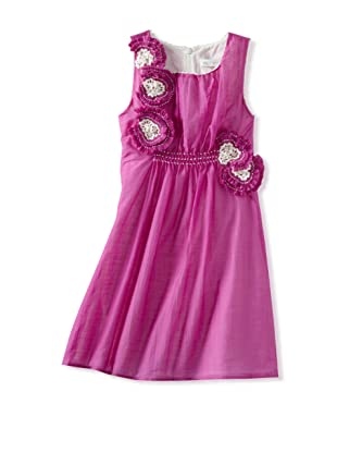 Charabia Girl's Sleeveless Appliqué Dress (Fuchsia)