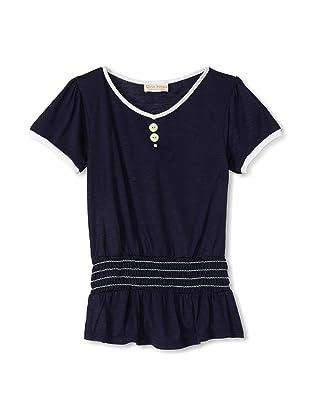 Upper School Girl's Shirred Knit Top (Navy)