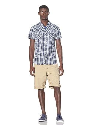 J.C. Rags Men's Short Sleeve Button-Up Shirt (Ink Blue)