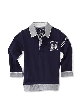 KANZ Boy's Long Sleeve Polo (Navy)