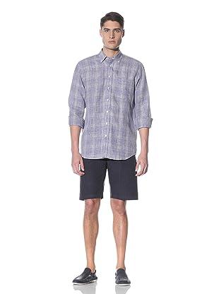 Toscano Men's Long Sleeve Checkered Linen Shirt (Stardust)