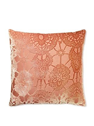 Kevin O'Brien Studio Lace Velvet Pillow, Papaya/Tangerine, 20