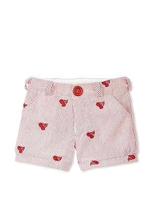 Upper School Girl's Embroidered Seersucker Shorts (Cherry)