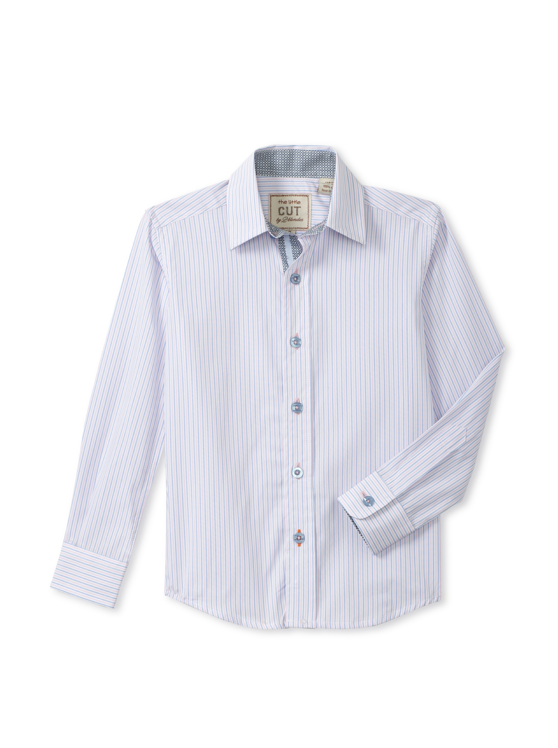 CUT By 2 Blondes Boys Go With It Long-Sleeve Button-Up (Blue/Pink Stripe)