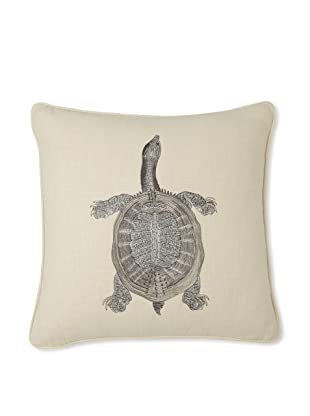 D.L. Rhein Turtle Embroidered Linen Pillow, Taupe/Metallic, 20