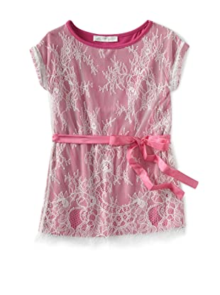 Charabia Girl's Sleeveless Dress Lace Overlay Dress (Fuchsia)