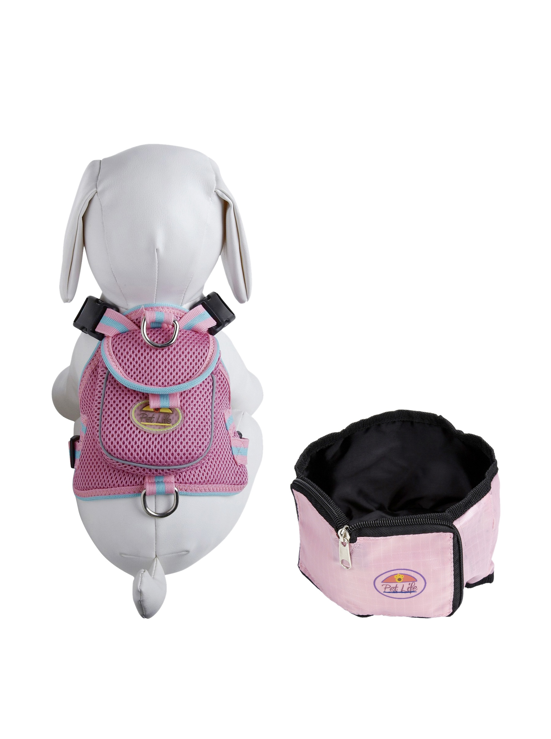 Pet Life Harness and Wallet Travel Bowl Set (Pink)