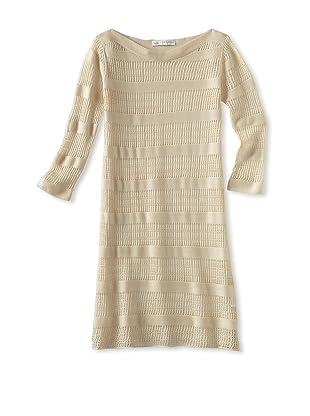 Charabia Girl's 3/4 Sleeved Dress (Ivory)