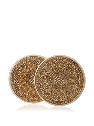 Arda Glassware Set of 2 Divine Platters (Cream/Brown)