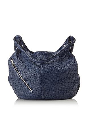 Christopher Kon Women's Matilda Diagonal Zip Bucket Hobo (Blue)
