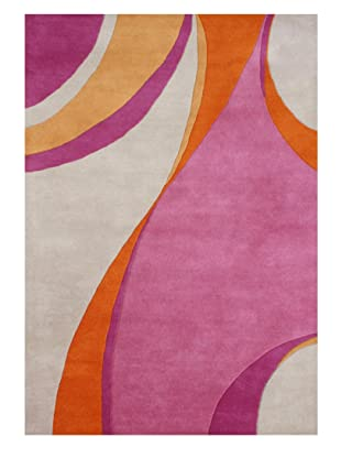 Horizon Alliyah Collection Abstract Wave Rug (Red/Orange/Rose)