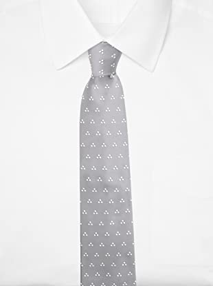 E.Tautz Men's Dotted Tie (Silver/White)
