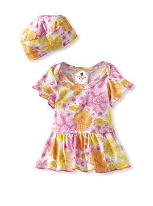 Country Baby Girl Skirted One Piece with Hat (Country Flowers)