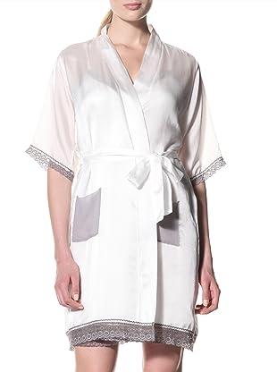 Toute la Nuit Women's Short Robe (Ivory/Grey)