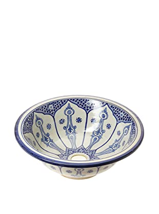 Hand-Painted Ceramic Sink Basin (Blue/White)