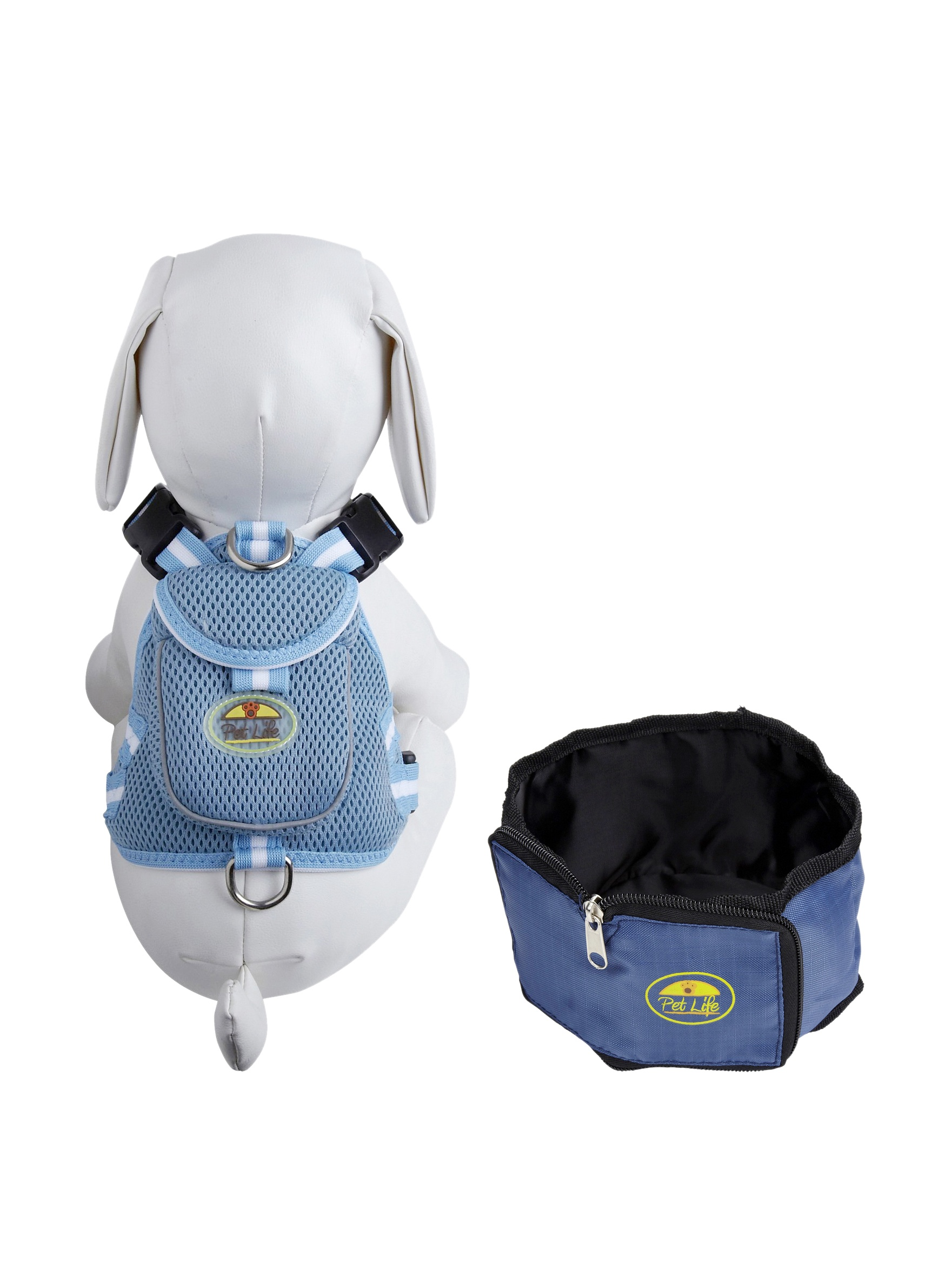 Pet Life Harness and Wallet Travel Bowl Set (Blue)