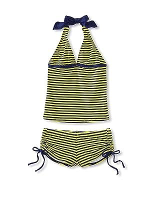Splendid Girl's Malibu Stripe Tankini/Boy Short Swimsuit (Navy/Lime)