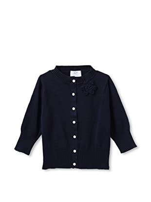 Baby CZ Girl's Cropped Cardigan with Orchid Bouquet (Navy)