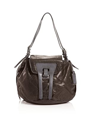 Gryson Women's Izzy Small Shoulder Leather Bag, Black Perforated