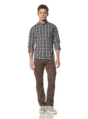 Creep by Hiroshi Awai Men's Long Sleeve Button-Down Shirt (Navy Check)