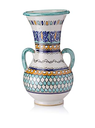Hand-Painted Ceramic Jar with Handles (Multi)