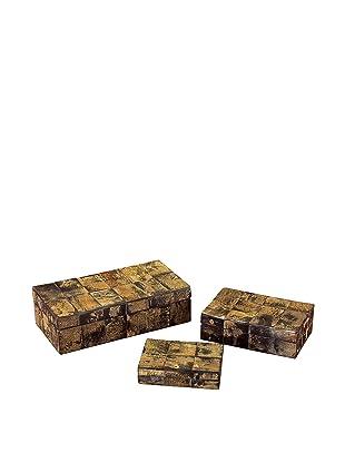 John-Richard Collection Set of 3 Natural Horn Boxes