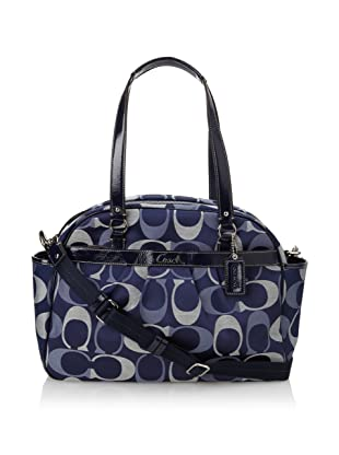 Coach Addison Tri-Color Signature Baby Bag Tote, Navy