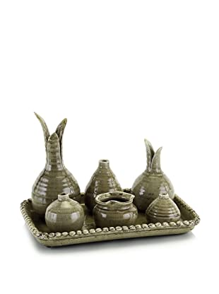 John-Richard Collection Set of 6 Vases on Ceramic Tray