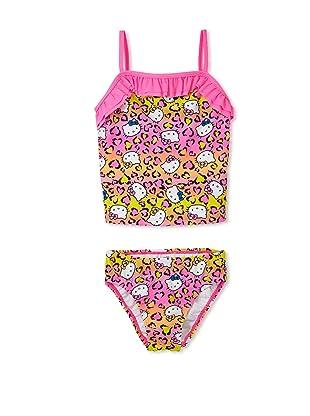 Hello Kitty Girl's 7-16 Animal Ruffle Tankini Set (Hot Pink)