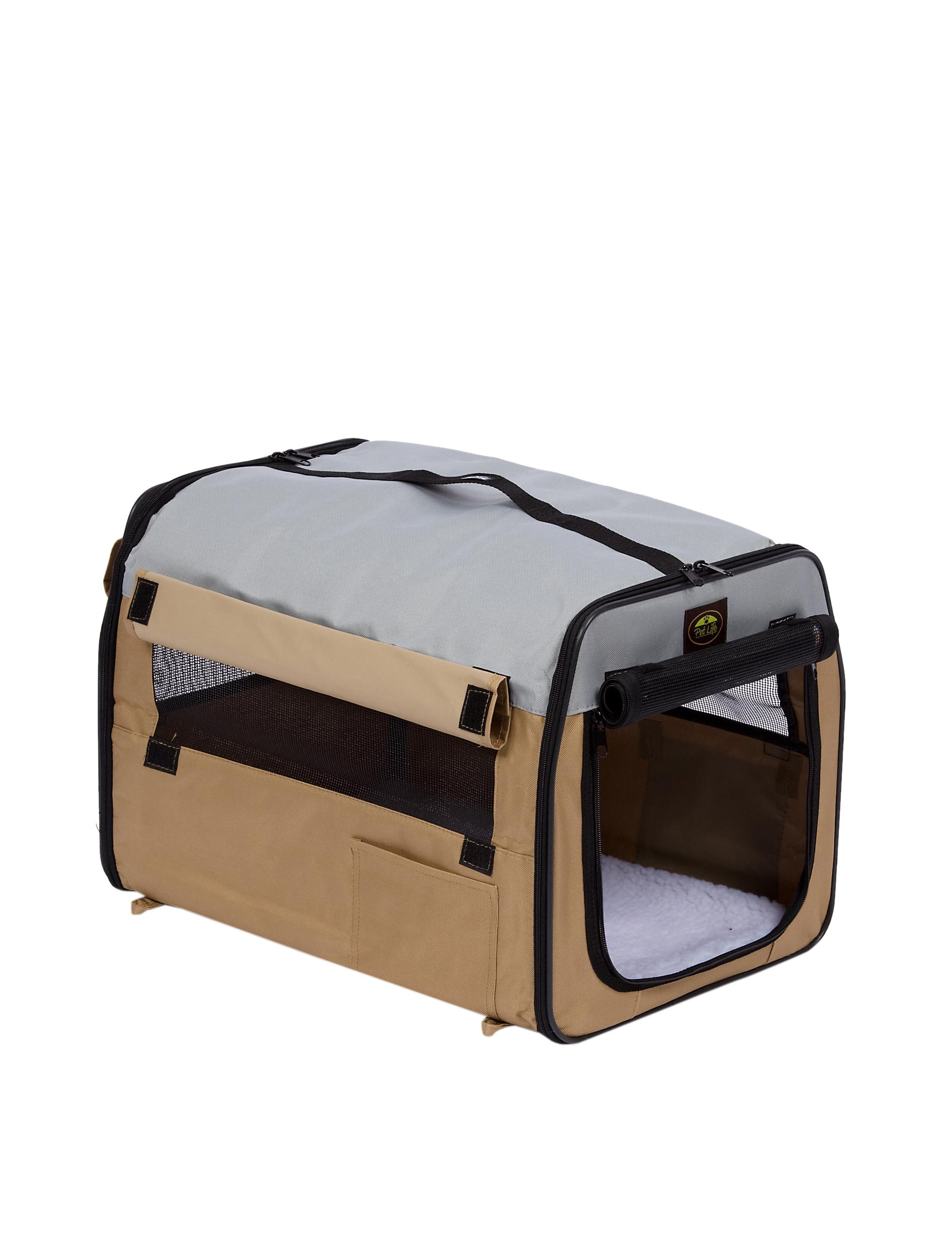 Pet Life Zippered Collapsible Wire Pet Crate (Khaki/Grey)