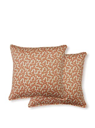 Dakota Set of 2 Coral Bay Pillows (Coral)